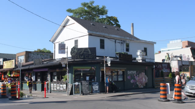 'film cafe' in kensington market, toronto, canada - ontario canada stock videos & royalty-free footage