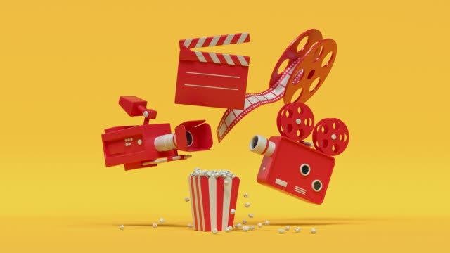 film camera popcorn red yellow cartoon style minimal 3d rendering cinema theater concept - film industry video stock e b–roll