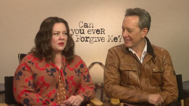 'can you ever forgive me?': melissa mccarthy and richard e. grant interview; england: int melissa mccarthy and richard e grant interview sot - richard e. grant stock videos & royalty-free footage