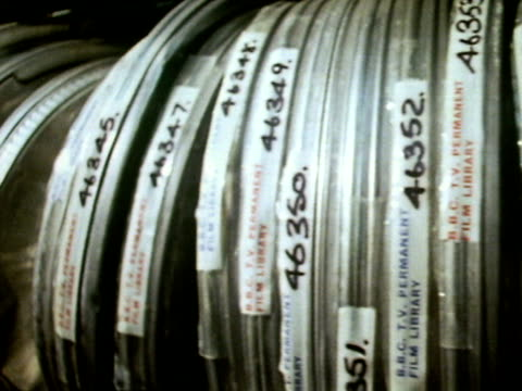 Film cans line the shelves of the BBC's television archive