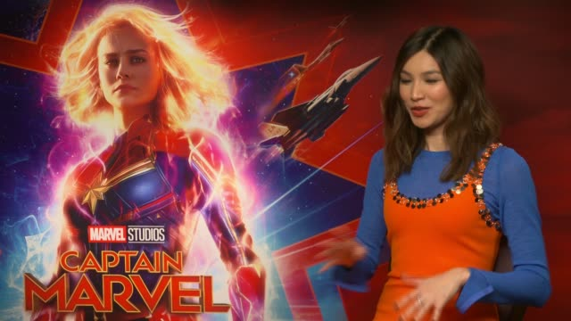 'Captain Marvel' junket interviews ENGLAND London INT Gemma Chan interview SOT Special access to Marvel now I'm wearing superhero badge Overdue that...