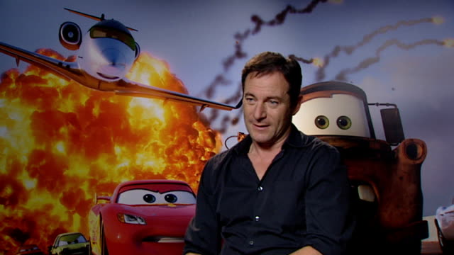 'cars 2' junket interviews: john lasseter, michael caine and jason isaacs; jason isaacs interview sot - on two parts in 'cars 2' .... would like to... - 俳優 マイケル・ケイン点の映像素材/bロール