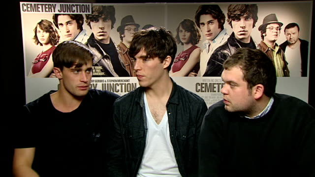 'cemetery junction' released christian cooke tom hughes and jack doolan interviews sot working with gervais had funny moments but they maintain it's... - rhythm stock videos and b-roll footage