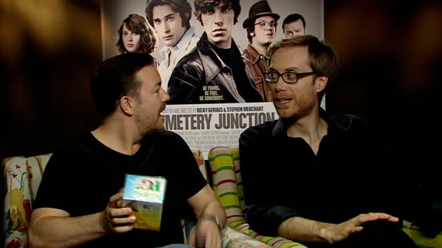 'cemetery junction' released; england: london: int ricky gervais and stephen merchant interviews sot - on receiving presents of teabags and doughnuts... - ricky gervais stock videos & royalty-free footage