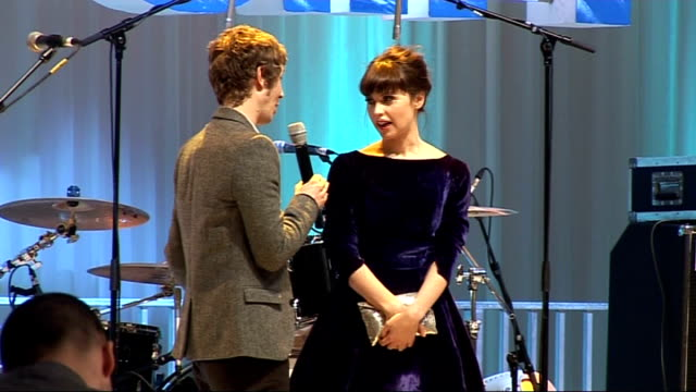 'Chalet Girl' premiere celebrity arrivals Felicity Jones speaking to press on stage SOT Excited to be here / in the film you get to see Bill Bailey...