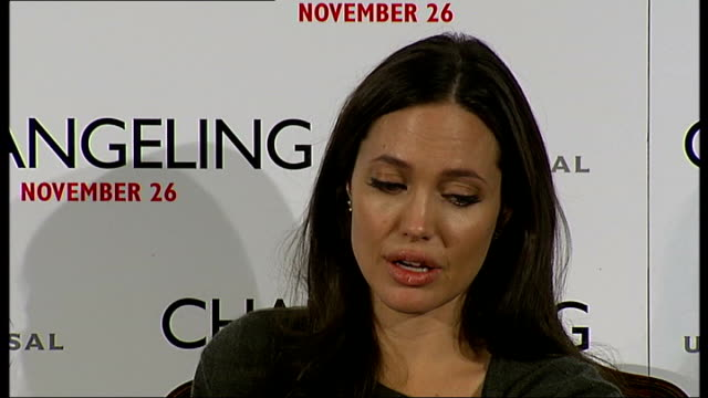 'Changeling' Angelina Jolie pays tribute to her mother Jolie press conference SOT On being a mother / Sure you can