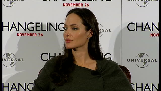 'Changeling' Angelina Jolie press conference Angelina Jolie interview continued SOT on loving Christmas on losing an Oscar on spending a lot of time...