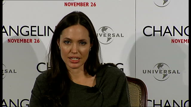 'Changeling' Angelina Jolie press conference Angelina Jolie interview continued SOT on John Malkovich being interesting on 1930s things she had to...