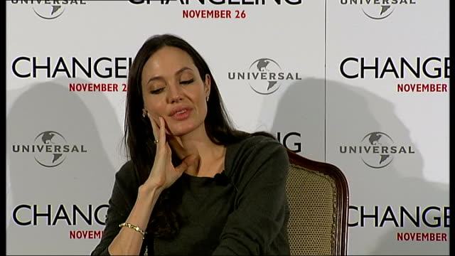 'Changeling' Angelina Jolie press conference Angelina Jolie interview continued SOT on Clint Eastwood having interest for detail in 1930s more on her...