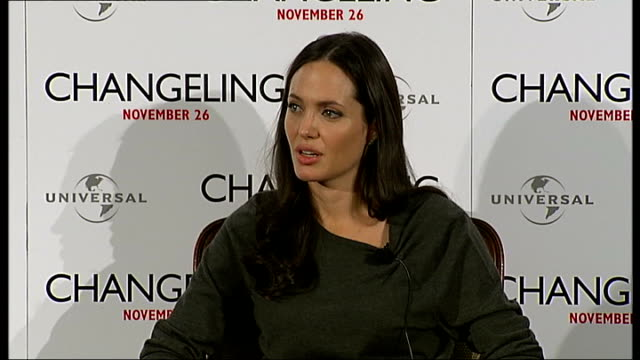 'Changeling' Angelina Jolie press conference Angelina Jolie interview continued SOT on most difficult scenes in film on rollerskating End of press...