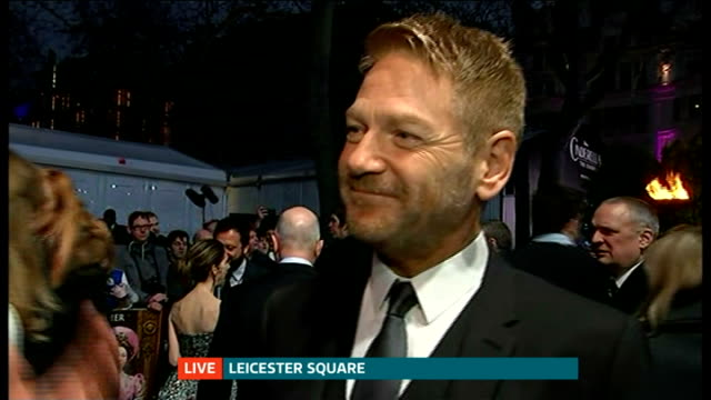 stockvideo's en b-roll-footage met 'cinderella' london film premiere kenneth branagh live interview sot reporter to camera - première