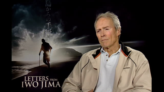 clint eastwood interview england eastwood interview sot 'flags of our father' was sort of a detective story for james bradley finding out how his... - ewigkeit stock-videos und b-roll-filmmaterial