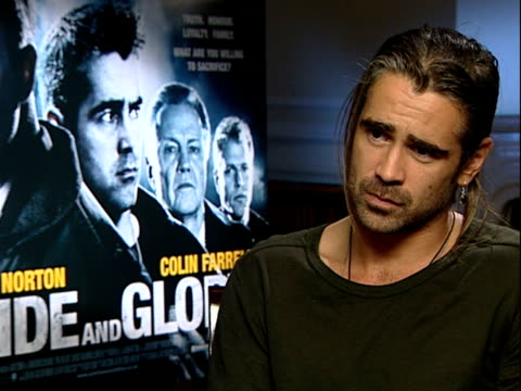 vídeos de stock, filmes e b-roll de colin farrell interview on how his character jimmy justifies everything bad he does through love for his family how physical it got during filming... - physical injury