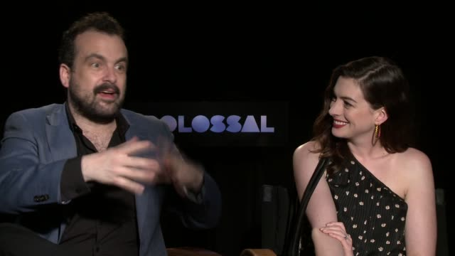 'Colossal' Anne Hathaway and Nacho Vigalondo interview ENGLAND London INT Nacho Vigalondo and Anne Hathaway interview SOT / different camera angle of...