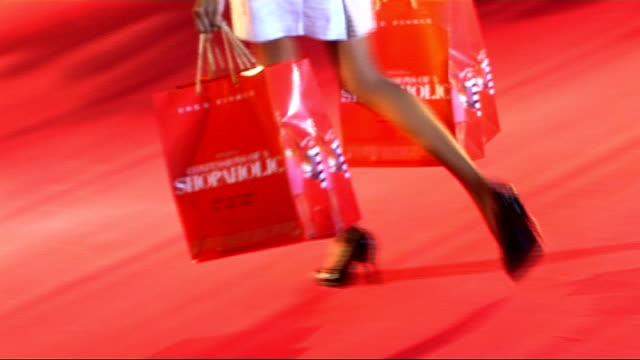 'Confessions of a Shopaholic' preview red carpet interviews More of fashion show models along red carpet fashion model wearing skirt made out of...