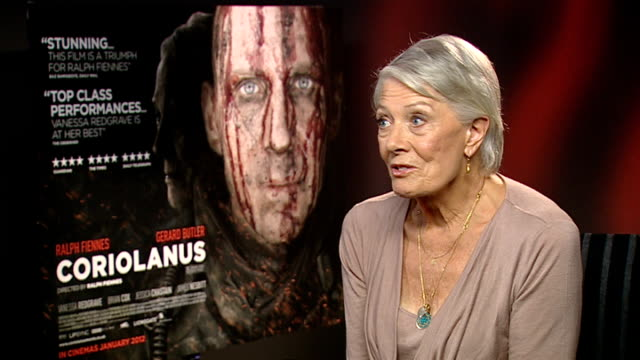 'Coriolanus' junket interviews Ralph Fiennes and Vanessa Redgrave Vanessa Redgrave interview SOT On being impressed by costars Gerard Butler and...