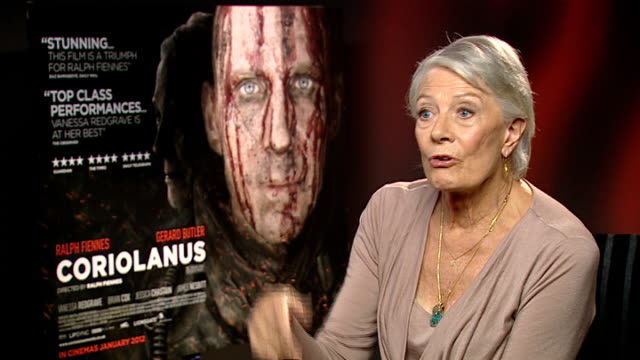'Coriolanus' junket interviews Ralph Fiennes and Vanessa Redgrave Vanessa Redgrave interview SOT On how hard it is or not to set Shakespeare in...