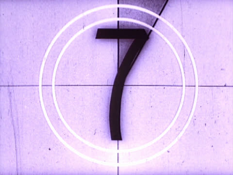 Film countdown from eight to three in purple tone