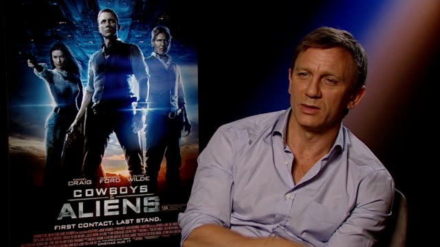 'cowboys and aliens' harrison ford and daniel craig interview daniel craig interview sot - daniel craig stock videos and b-roll footage