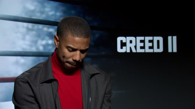 Creed II junket interviews UK London Actor Michael B Jordan interview about new film 'Creed II' ENGLAND London INT Michael B Jordan interview SOT On...