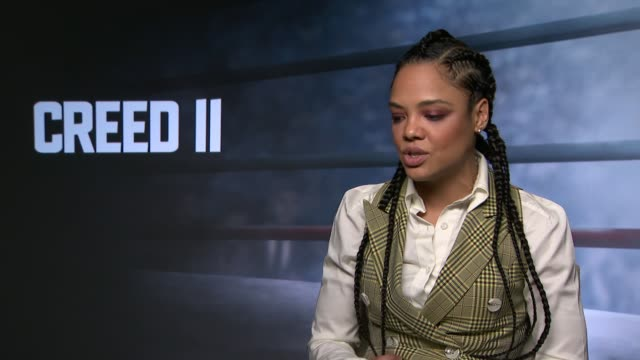 Creed II junket interviews UK London Actor Tessa Thompson interview about new film 'Creed II' ENGLAND London INT Tessa Thompson interview SOT On...