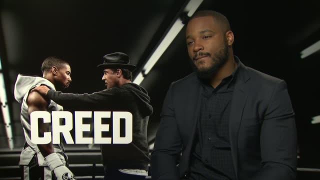 'creed' junket interviews ryan coogler interview sot - ryan coogler stock videos and b-roll footage