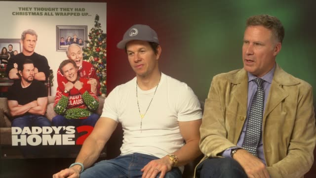 vídeos de stock e filmes b-roll de 'daddy's home 2' junket interviews england london int mark wahlberg and will ferrell interview sot re new film 'daddy's home 2' - conferência de imprensa