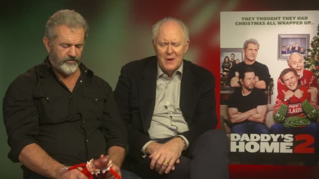 'Daddy's Home 2' junket interviews ENGLAND London INT Mel Gibson and John Lithgow interview SOT