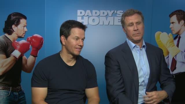 vídeos y material grabado en eventos de stock de 'daddy's home' interviews wahlberg and ferrell interview sot on danceoff in film / on what makes the best dad - hombre de familia título de película