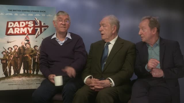 'dad's army' junket interviews tom courtenay sir michael gambon and bill paterson interview sot - tom courtenay stock videos & royalty-free footage