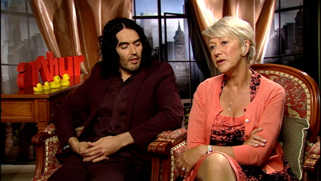 Dame Helen Mirren and Russell Brand star in remake of Arthur SPLIT SCREEN ITN reporter / Russell Brand and Dame Helen Mirren interview SOT Russell...