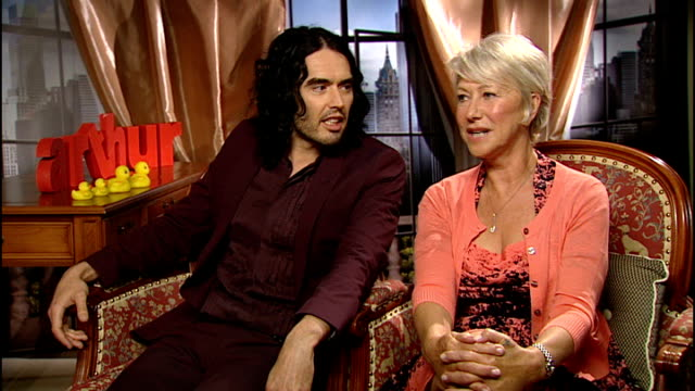 Dame Helen Mirren and Russell Brand star in remake of Arthur Brand laughing next Mirren Russell Brand and Dame Helen Mirren interview SOT