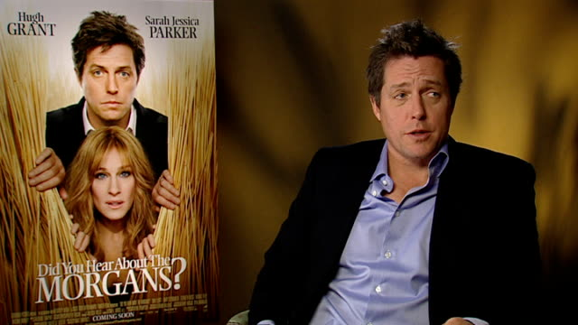 'did you hear about the morgans?': hugh grant interview; england: london: int hugh grant interview sot - on the script, funny, touching, not exactly... - western script stock-videos und b-roll-filmmaterial