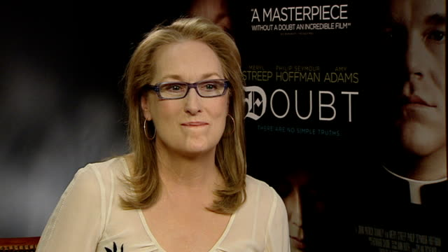 interviews; england: london: int meryl streep interview sot - discusses her role as sister aloysius beauvier in feature film 'doubt' - メリル・ストリープ点の映像素材/bロール