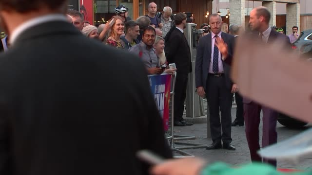 duke of cambridge attends 'they shall not grow old' premiere england london waterloo bfi southbank ext people waiting by red carpet / prince william... - bfi southbank stock videos & royalty-free footage
