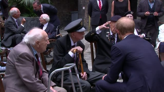 'dunkirk' premiere / mark rylance moved to tears meeting dunkirk veteran london kensington palace ext various of prince harry sitting chatting with... - mark rylance stock-videos und b-roll-filmmaterial