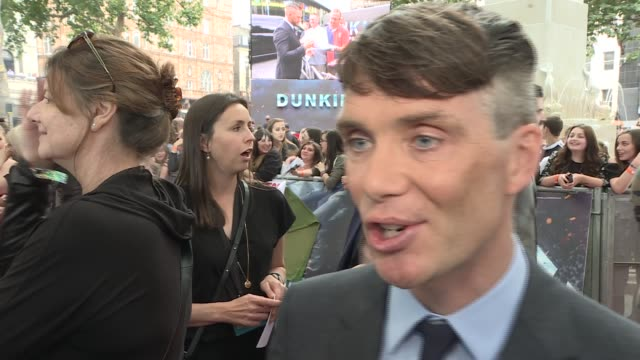 'Dunkirk' premiere Red carpet arrivals Cillian Murphy interview SOT / Mark Rylance speaking to press SOT / Aneurin Barnard speaking to press / Mark...