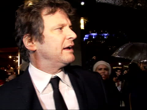 'Easy Virtue' London film premiere Colin Firth speaking to press and interview SOT