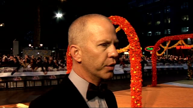 'Eat Pray Love' film premiere Red carpet arrivals Roberts talking to woman Ryan Murphy interview SOT Talks about Glee and the reaction to it / gets...