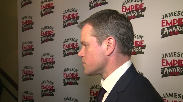 Empire Awards 2016 Red carpet arrivals / winners' room Matt Damon speaking to press and interview SOT / Stanley Tucci interview SOT