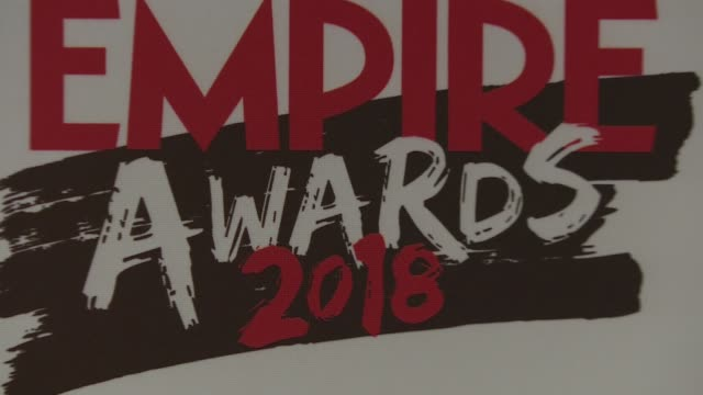 Empire Awards 2018 Winners room interviews ENGLAND London Camden Roundhouse PHOTOGRAPHY*** Signage / Josep Mitja and Teresa Lopez interview SOT / Jim...