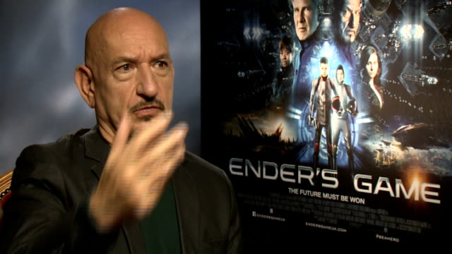 'ender's game' junket interviews england london int ben kingsley interview sot - ben kingsley stock videos and b-roll footage