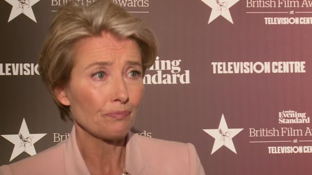 evening standard british film awards 2016: red carpet arrivals / winners' room; winners' room: int emma thompson interview sot / tuppence middleton... - エマ・トンプソン点の映像素材/bロール