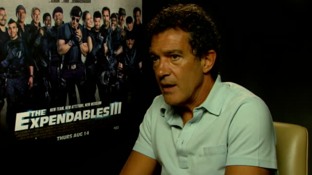 expendables 3 press junket stallone and lutz interview sot on kellan getting role antonio banderas interview sot on how comical his character is felt... - cheek to cheek stock videos & royalty-free footage