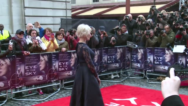 'eye in the sky' film premiere england london photography*** closeup helen mirren / gavin hood on red carpet / colin firth on red carpet with helen... - gavin hood stock videos and b-roll footage
