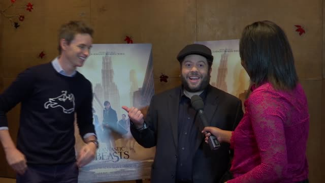 'fantastic beasts and where to find them' cast interviews england london int eddie redmayne and dan fogler interview sot re new harry potter film... - ensemblemitglied stock-videos und b-roll-filmmaterial