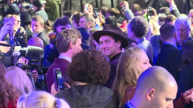 'fantastic beasts the crimes of grindelwald' premiere england london leicester square eddie redmayne chatting to press / redmayne chatting to jk... - premiere stock-videos und b-roll-filmmaterial