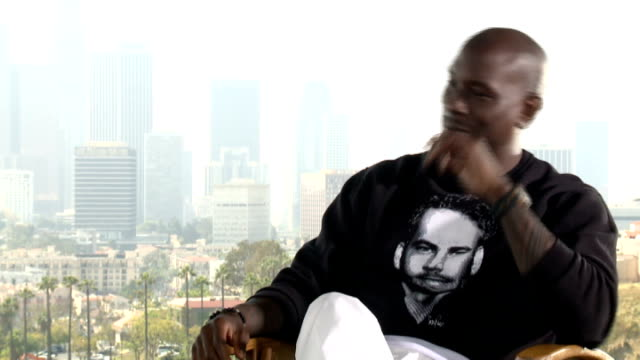 'fast and furious 7' junket interviews tyrese gibson interview sot - tyrese stock videos and b-roll footage
