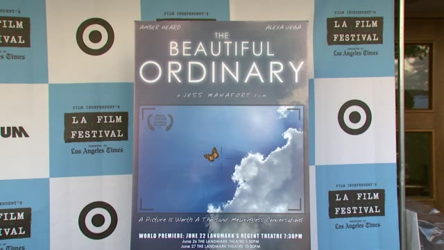 film festival backdrop and movie poster at the 'the beautiful ordinary' premiere at landmark's regent theatre in los angeles california on june 24... - festival poster stock videos & royalty-free footage