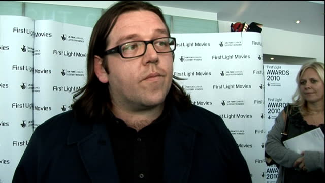 First Light Awards Interviews with award winners ENGLAND London INT Nick Frost interview SOT On how important it is to support young filmmakers /...